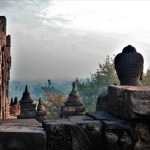 Borobudur early morning sun and jungle