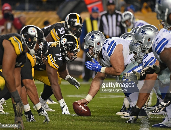 PITTSBURGH, PA - NOVEMBER 13: Center Travis Frederick #72 of the Dallas Cowboys looks across the line of scrimmage at defensive lineman Javon Hargrave #79 of the Pittsburgh Steelers during a game at Heinz Field on November 13, 2016 in Pittsburgh, Pennsylvania. The Cowboys defeated the Steelers 35-30. (Photo by George Gojkovich/Getty Images)