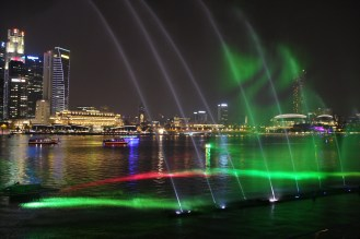 Light show as viewed from Marina Bay Sands