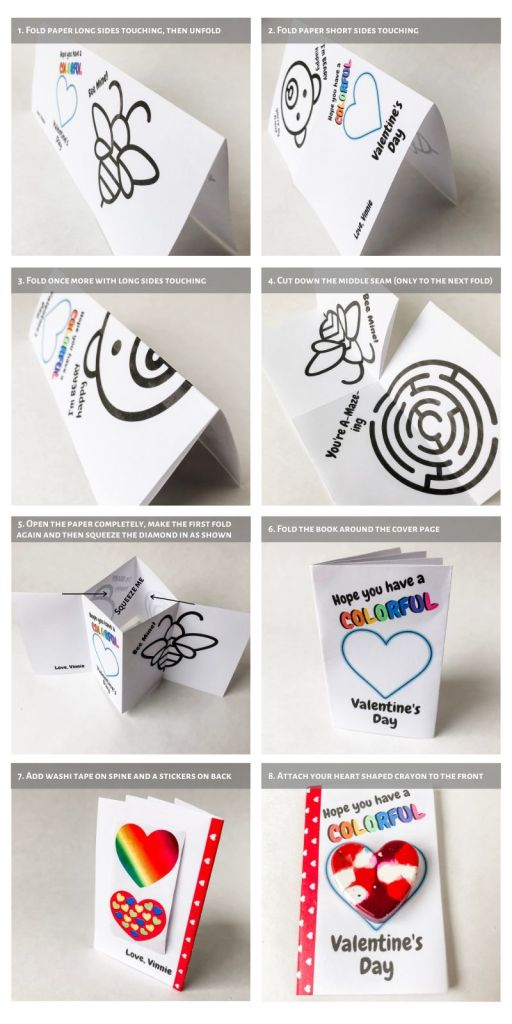 How to assemble the Activity Book - free printable - for your Valentine Cards for kids