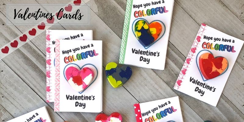 DIY Valentine Cards for kids Heart Crayons with free printable activity book