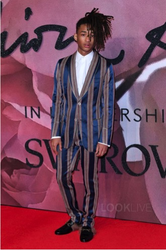 Jaden Smith at the British Fashion Awards. From runway to street style Jayden is up and coming in the fashion world. This look prove how versatile and show stopping a suit can be.