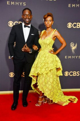 Sterling K. Brown in Valentino with Ryan Michelle Bathe wearing Harry Winston Jewelry