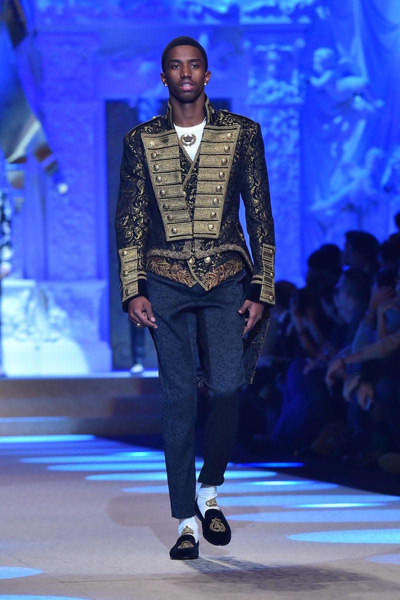 Christian Combs walks for Dolce & Gabbana show during Milan Men's Fashion Week. Photo by Jacopo Raule/Getty Images