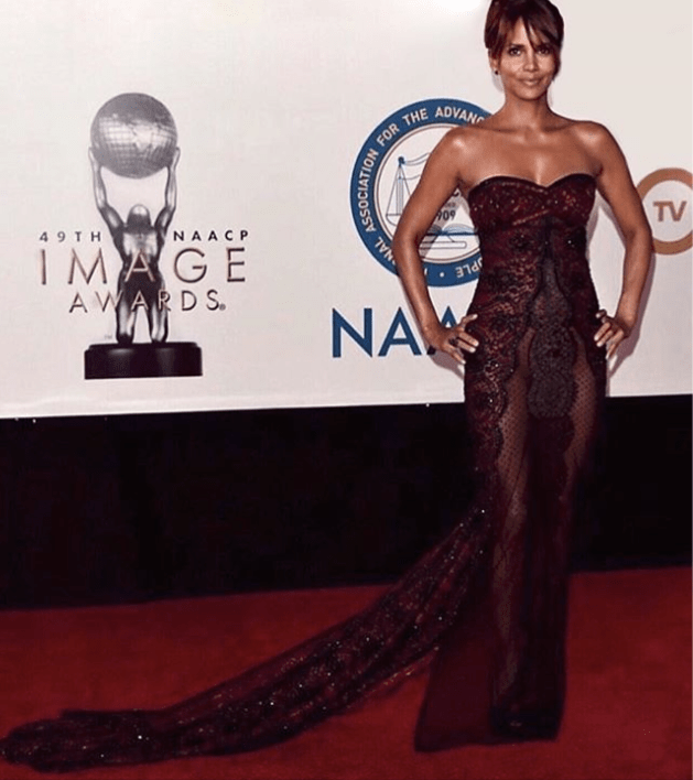 Halle Berry at the NACCP Images Awards wearing Reem Acra. Photo via Instagram @halleberry