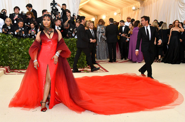Nicki Minaj wearing Oscar de la Renta. Picture by Dia Dipasupil/WireImage