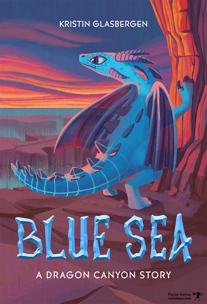 couverture de livre dragon canyon blue sea - un personnage de jeu vidéo représenté comme un dragon bleu dans un monde numérique- couverture de livre illustrée pour Kristin Glasbergen
