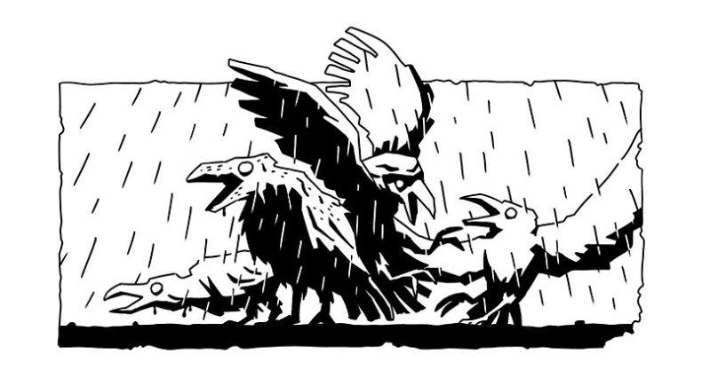 Tête de chapitre encrée en clair obscure - un groupe de corbeaux sinistres sous la pluie. tête de chapitre d'Annabel Pickering and the Sky pirate, the fantastical contraption écrit par Brétigne shaffer, illustré par Mefisheye