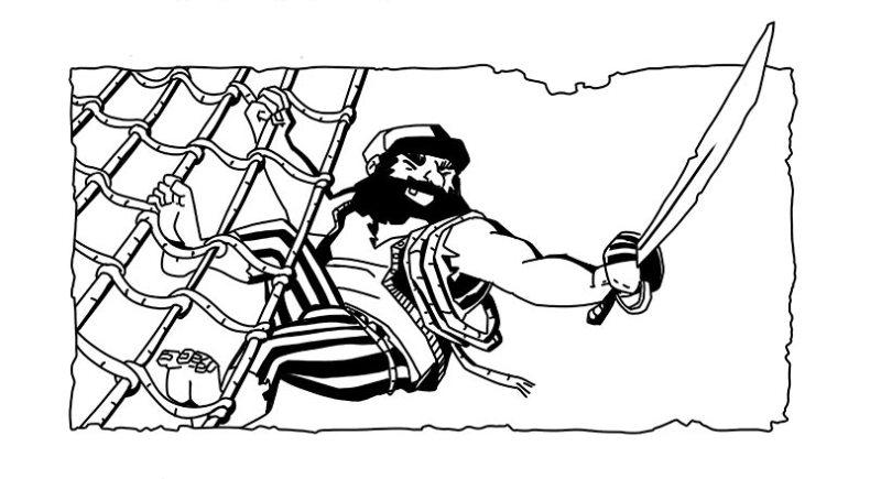 Tête de chapitre encrée en clair obscure - un pirate barbu en plein combat. tête de chapitre d'Annabel Pickering and the Sky pirate, the fantastical contraption écrit par Brétigne shaffer, illustré par Mefisheye
