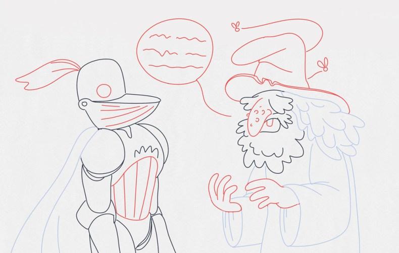 un magicien explique son plan au chevalier en armure - donner une fonction au dialogue