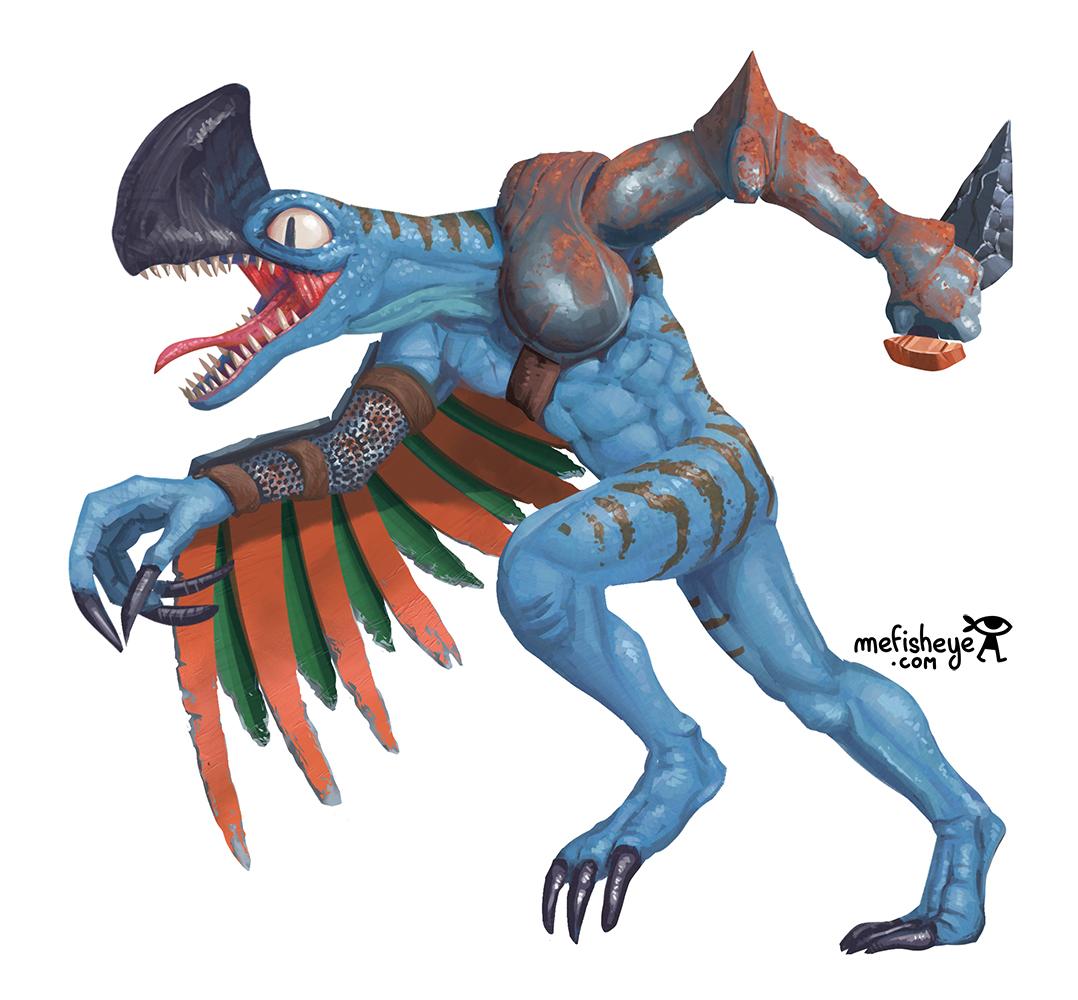 Illustration de Boruntia, un guerrier dinosaure appartenant au jeu de plateau Argox