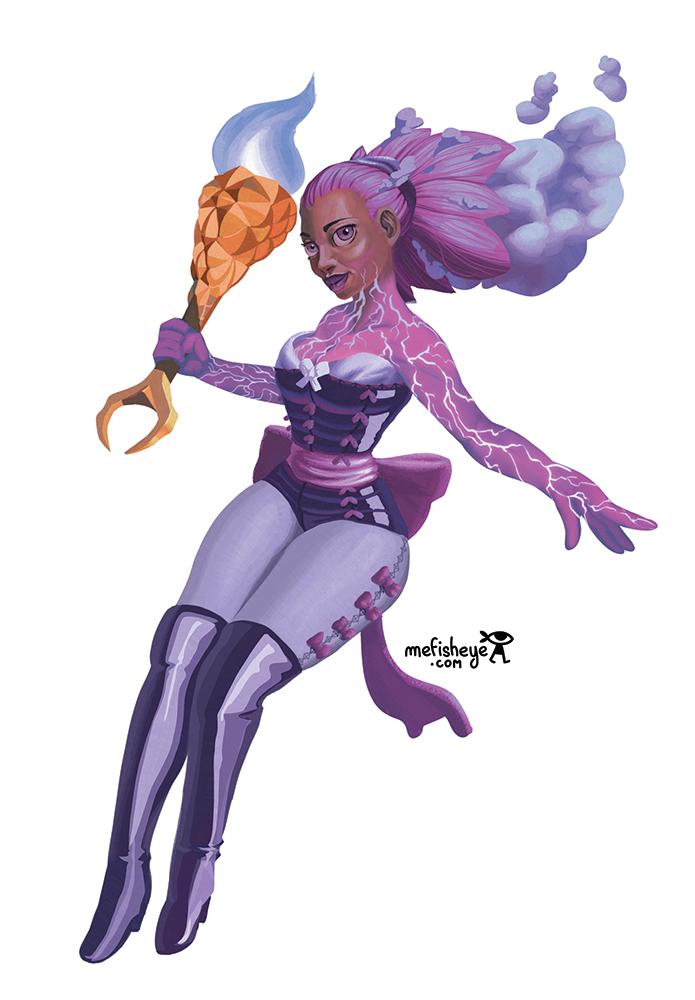 Illustration en couleur du personnage de Yorimitsu, magicienne élémentaliste apartenant à l'univers du jeu de société Argox.