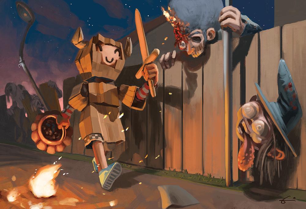 Illustration d'un enfant déguisé en chevalier durant Halloween. Il ne semble pas être au fait de l'invasion de zombies.