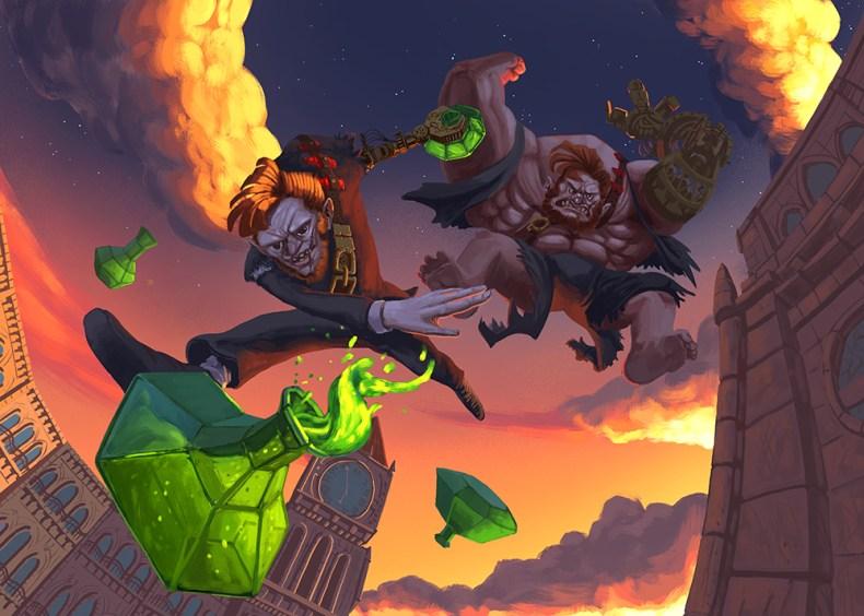 Illustration de carte sur le thême de docteur Jekyll et mister Hyde dans un style steampunk. L'illustration représente les deux états du personnage.