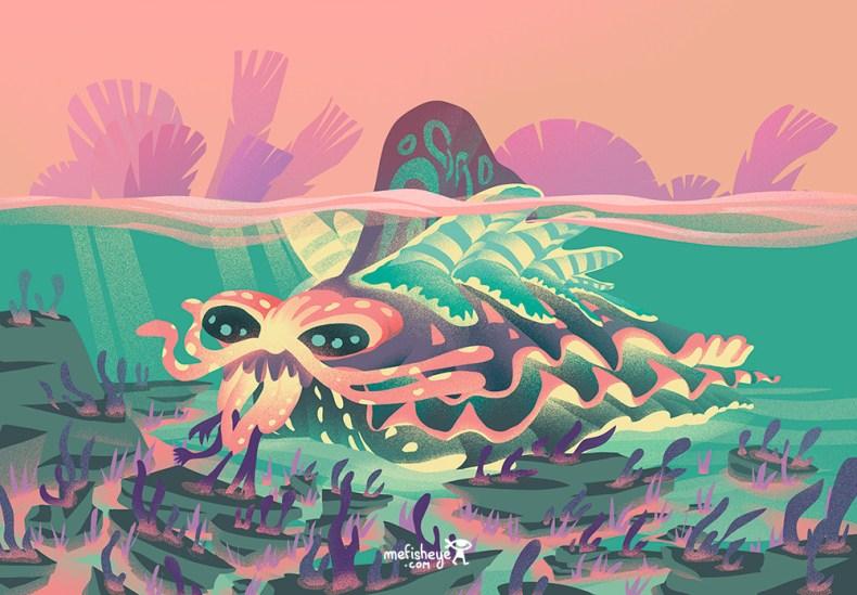 un dessin d'animal sous marin imaginaire tiré de mon projet de jeu de société
