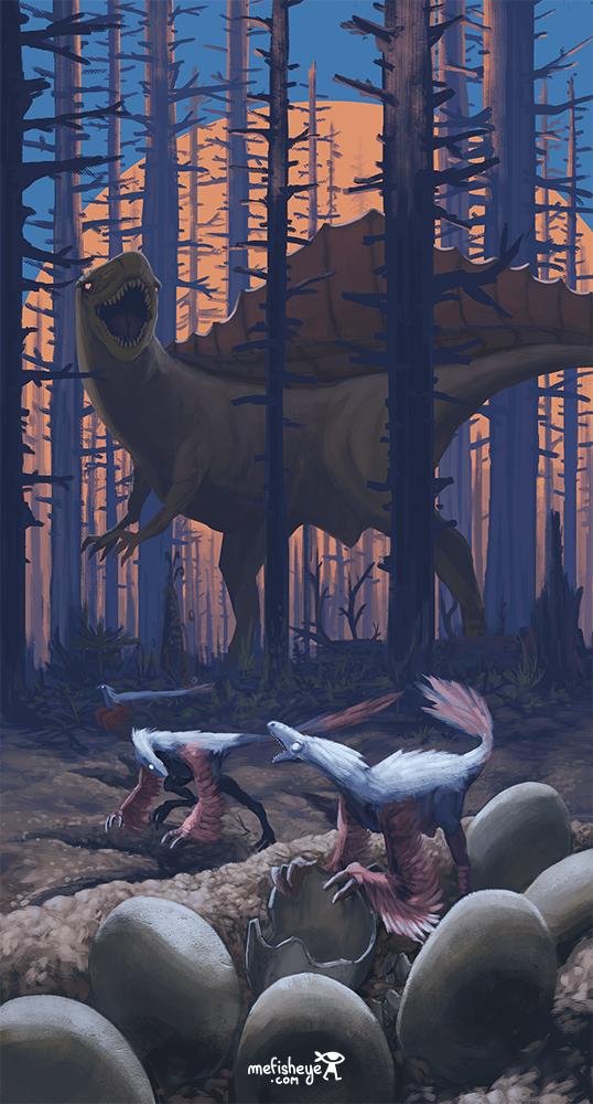 Au milieu de la nuit, un dinosaure géant se fait voler ses oeufs par de petits dinosaures mangeaurs d'oeufs.