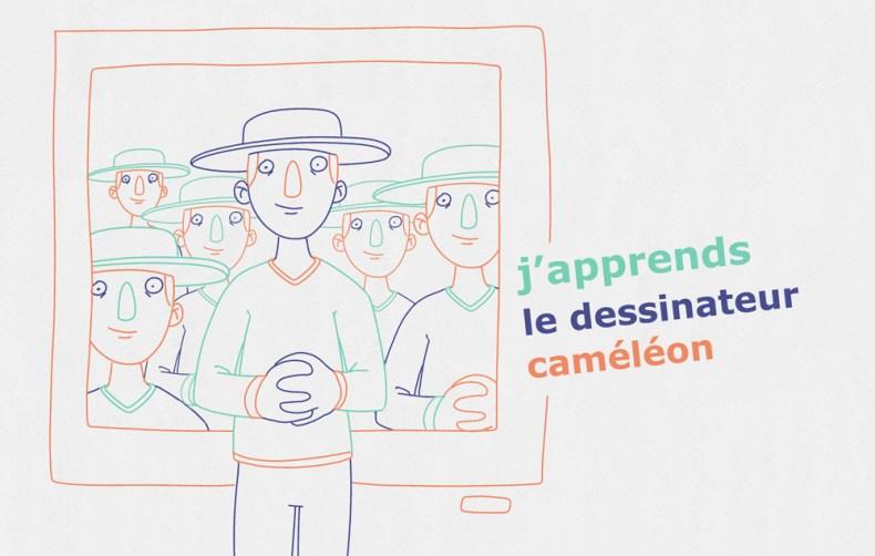 dessinateur caméléon touche à tout avec son autoportrait derrière lui