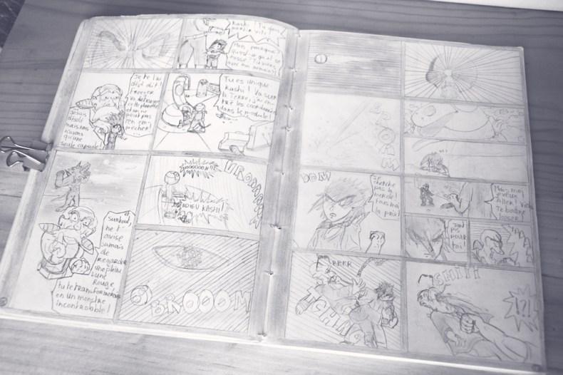 Double page d'une bande dessinée dragon ball dessinées quand j'étais au lycée