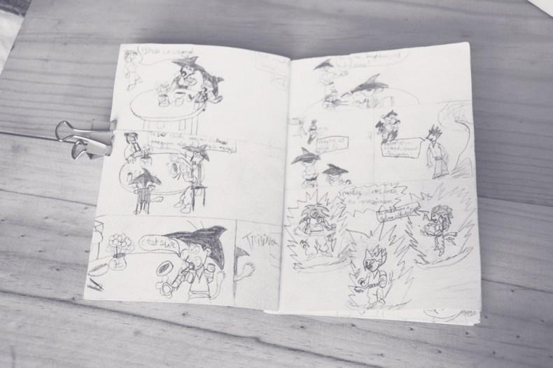 Double page d'une bande dessinée dragon ball dessinées quand j'étais au collège