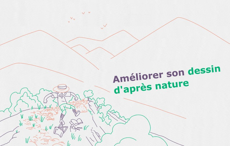 dessinateur en colère au milieu d'un paysage de montagne