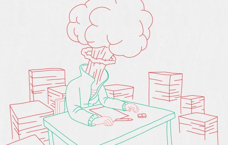 dessinateur dont la tête explose à cause de la surcharge de travail. Il fait un burn out.