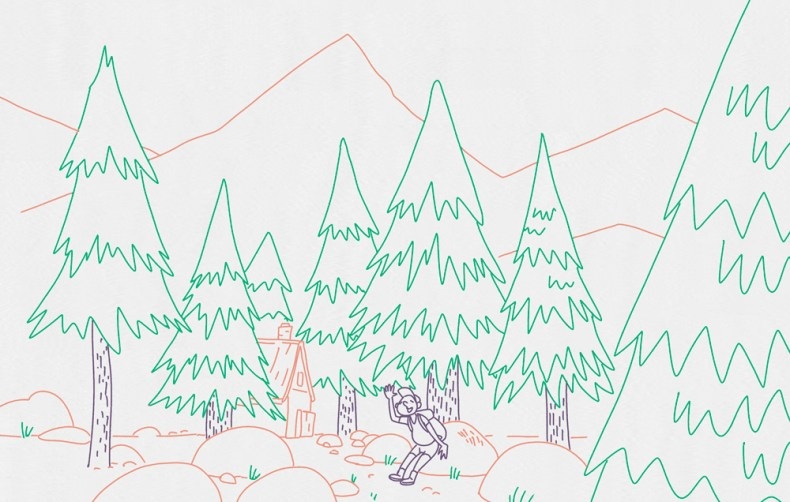illustration paysage montagne trek