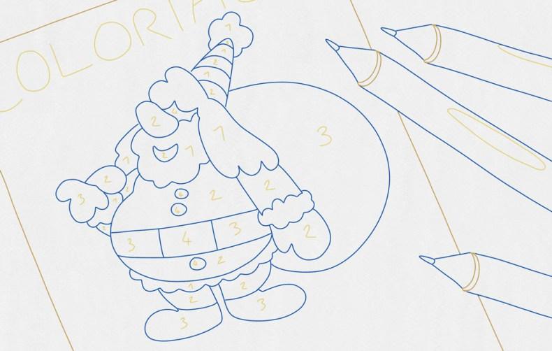 Dessin pour enfant représentant un coloriage de pere noel