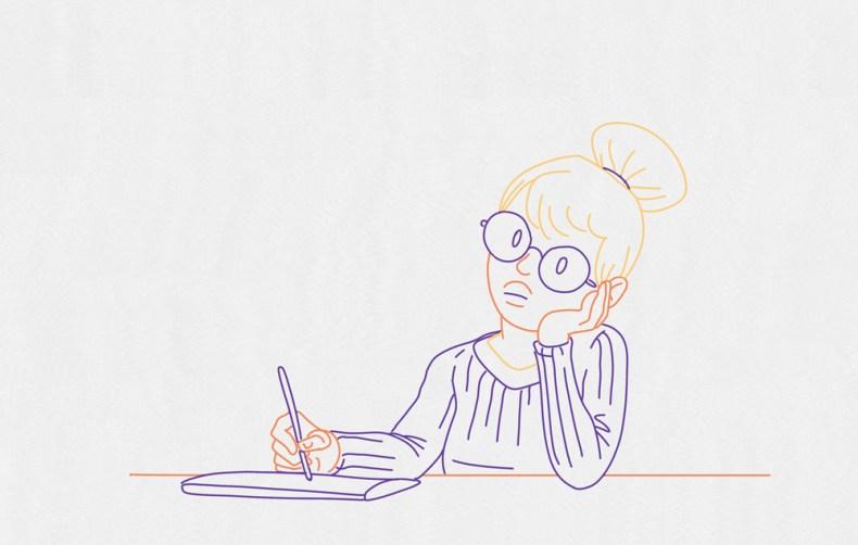 Une illustratrice numérique réfléchie avant de commencer son speed painting