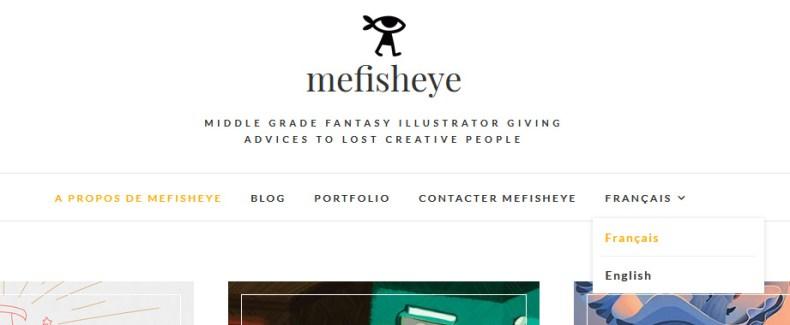 menu déroulant pour changer de langue sur mefisheye.com