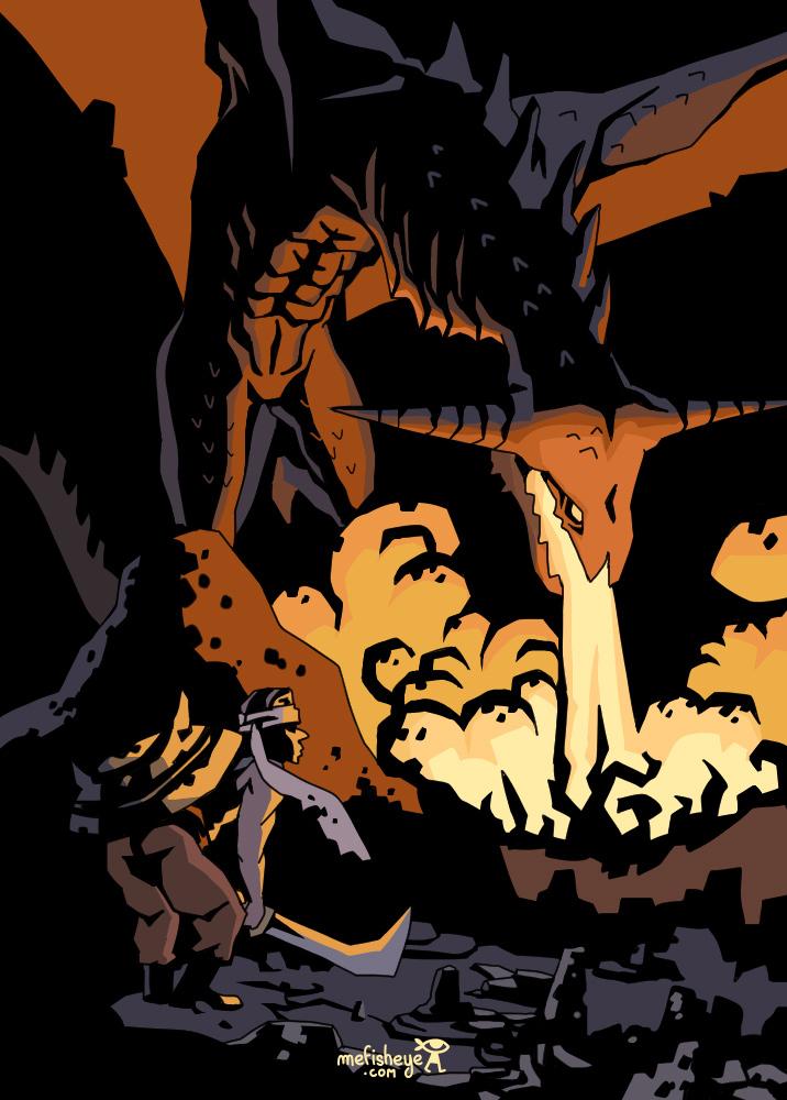 fantasy illustration of a Dragon breathing fire