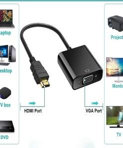 Adaptador Negro con Entrada VGA y Conector HDMI