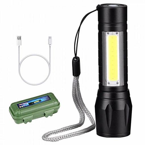 Linterna Recargable con Cargador USB y Estuche
