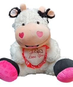 Peluche Afelpado Vaca con Corazón de Frase Te Amo