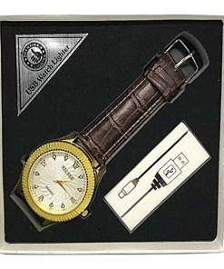 Reloj con USB y Encendedor color Dorado con Correa Café