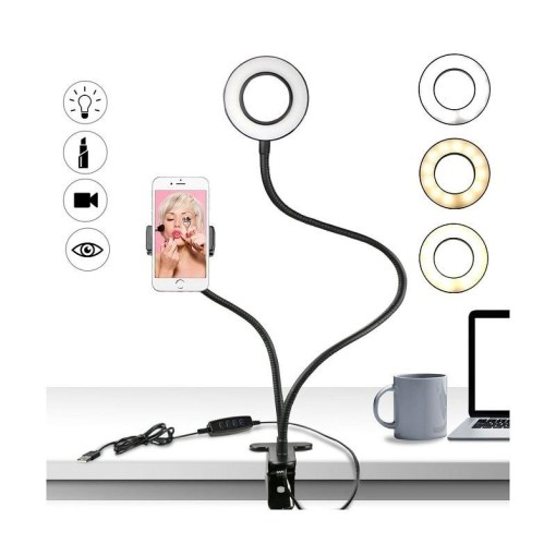 Aro de luz Led flexible anillo profesional sobre escritorio Mega Bahía