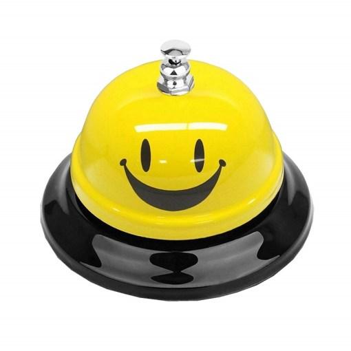 Timbre de recepción para hotel carita feliz color amarillo mega bahia