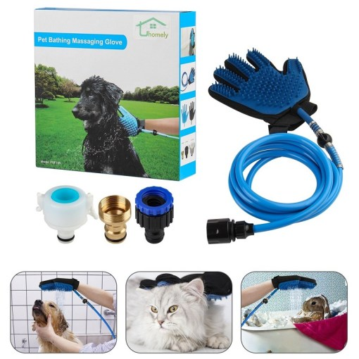 guante de baño para mascota color azul uso mega bahía