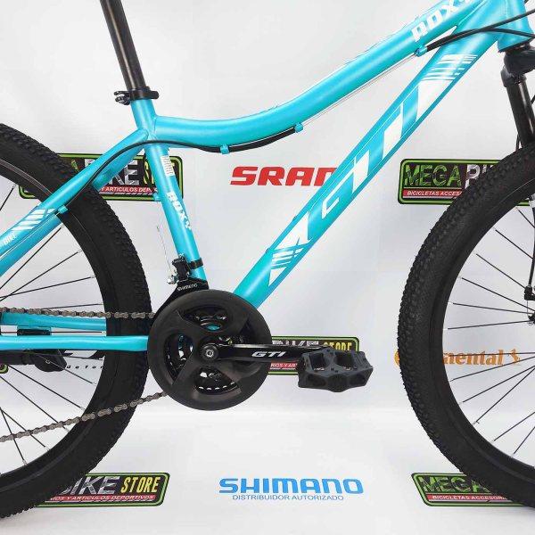 Bicicleta-guayaquil-mtb-montañera-talla-mega-bike-store-bike-shimano-gti-roxy-aro-26-blanco-turquesa.