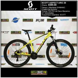 Bicicleta-guayaquil-mtb-montañera-talla-mega-bike-store-bike-shimano-scott-aspect-aro-29-aluminio-negro-amarillo.