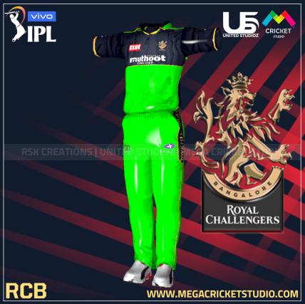 royal challengers bangalore green hd kit 2021 for ea cricket 07 megacricketstudio