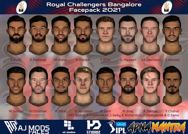 Royal Challengers Bangalore Facepack 2021 for EA Cricket 07