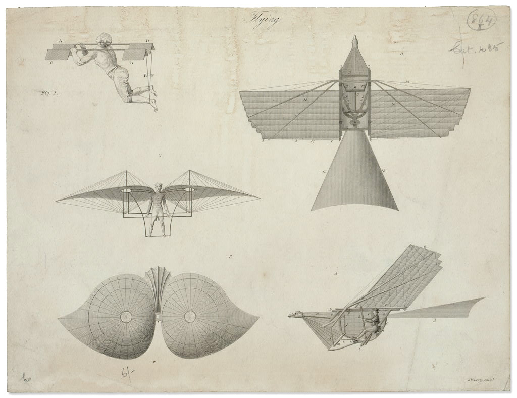 Flying Machine Technical Illustration :: Tissandier Collection