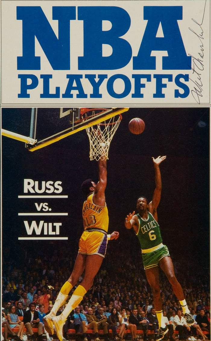 NBA Magazine Clipping of Wit Chamberlain and Bill Russelll