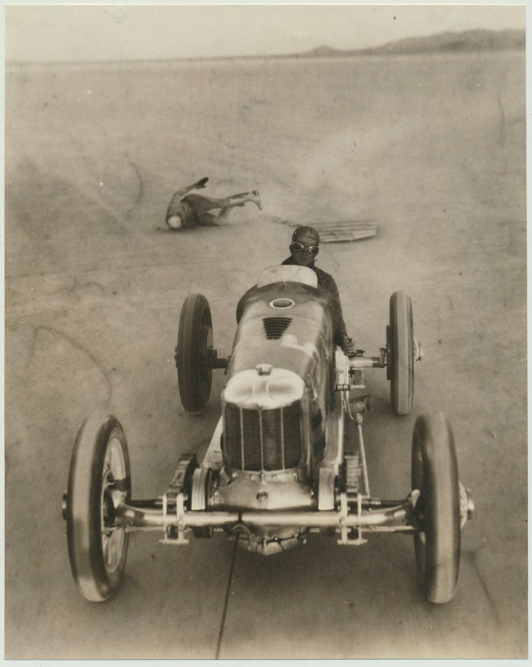 Surfboarding Behind Speedy Race Car :: 1930