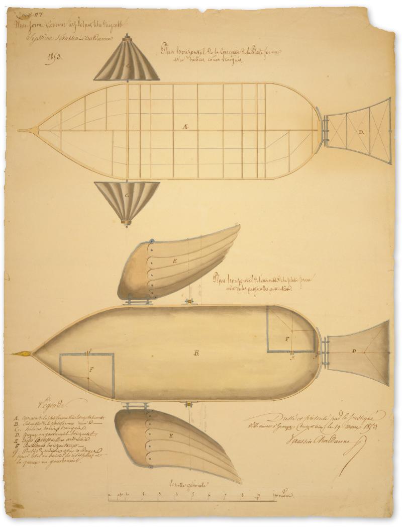Flying Machine :: Dirigible Platform Body :: 1853