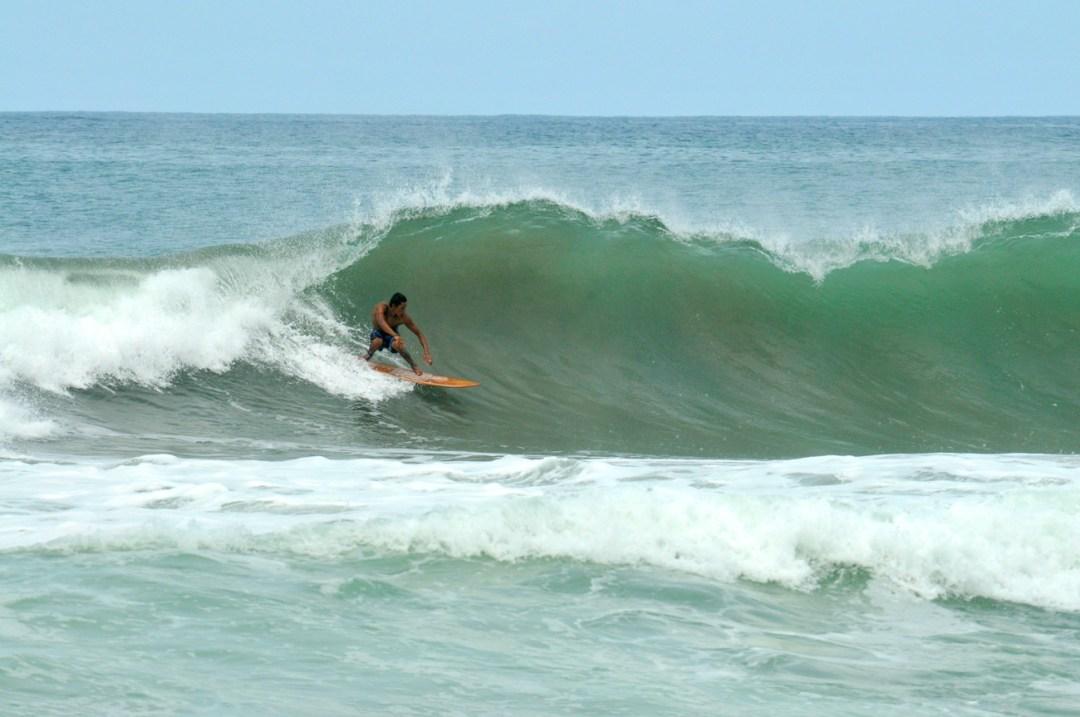"""Juan Carlos Sandino riding a 5'10"""" Wefi fish in Nicaragua"""