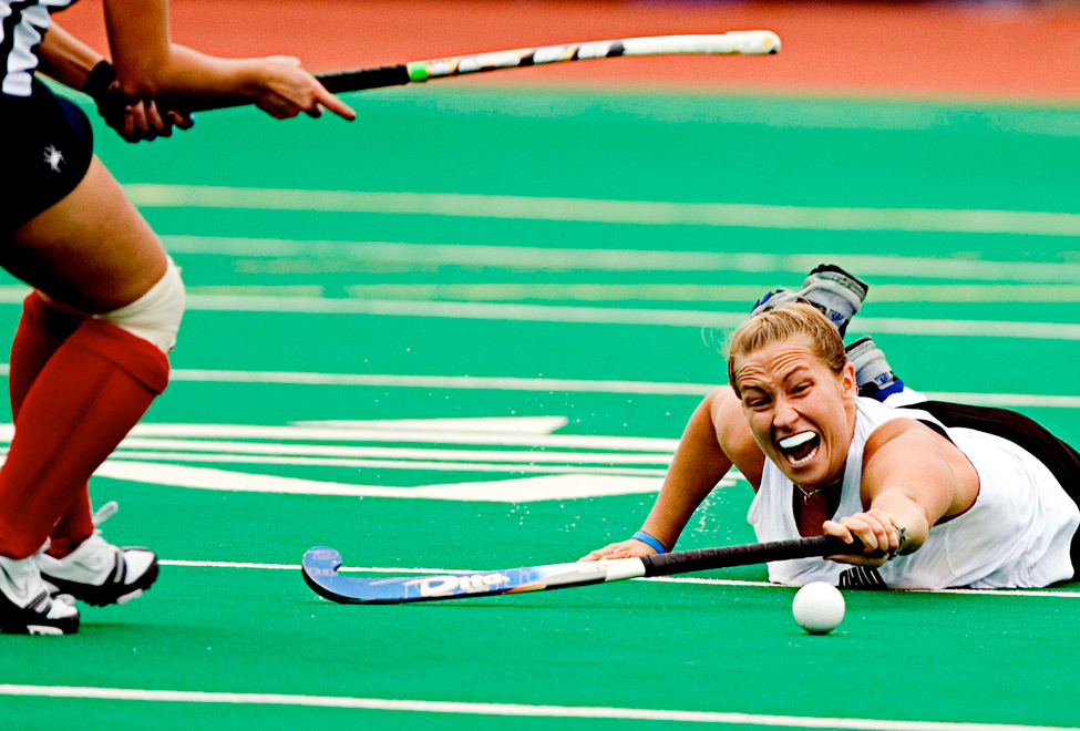Ohio senior Marcy Dull dives in an attempt to control a loose ball during the Bobcats NCAA Tournament play-in game against the Richmond Spiders. Ohio lost the game 2-1.