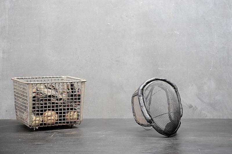 Vintage Belgian Fencers Leather and Mesh Mask