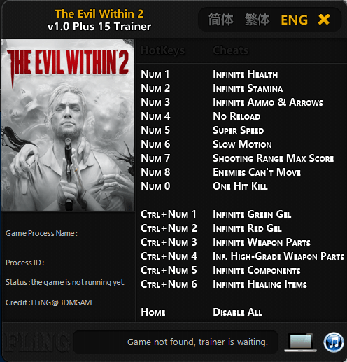 Game Trainers The Evil Within 2 Trainer 15 10