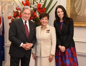 Jacinda Ardern with Deputy Prime Minister Winston Peters and Governor-General Dame Patsy Reddy at the swearing-in of the Cabinet on October 26, 2017.